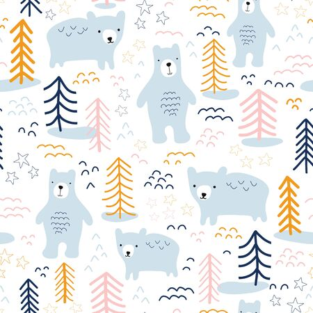 Seamless pattern bears in forest hand drawn vector illustration. Scandinavian style repeating animal nature background in blue, yellow, orange, pink on white. For wallpaper, fabric, kids decor, baby Фото со стока - 133199000