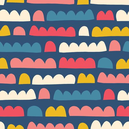Abstract kids shapes seamless vector pattern paper cut out collage style. Blue pink yellow beige modern childish repeating background. For kids fabric, decor, banners, packaging, surface design