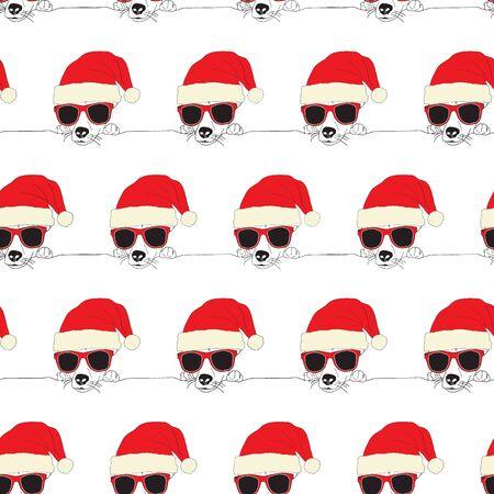 Seamless pattern Christmas dog wearing Santa hat and sunglasses. Vector Illustration. Cute and funny animal holiday design Фото со стока - 133199002