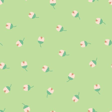 Folk flowers seamless vector repeating background. Pink on green. Scandinavian tulip flowers. Scattered small florals pattern. For fabric, girl, nursery, page fills, packaging, digital paper