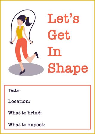 Motivational gym class poster template. Women Fitness class vector illustration of woman with jump rope. Sport event invitation. Фото со стока - 133199010
