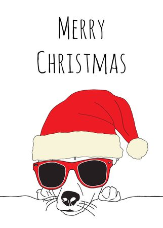 Merry Christmas and Dog wearing Santa hat and sunglasses. Vector Illustration. Cute animal holiday greeting card template Фото со стока - 133199012
