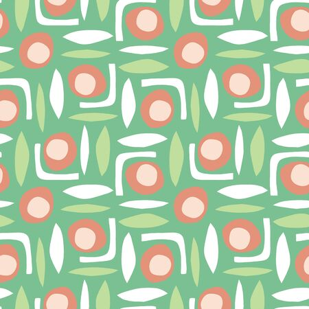 Abstract shapes seamless retro vector pattern paper cut out collage style green white orange