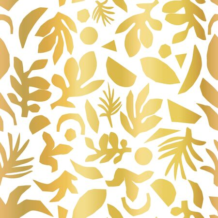Gold foil abstract floral plant shapes seamless vector background.