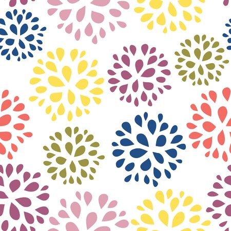 Seamless abstract floral pattern illustration. Simple colorful repeating background design with green, yellow, blue, purple flowers for home decor, fabric, gift wrap, wallpaper, card design