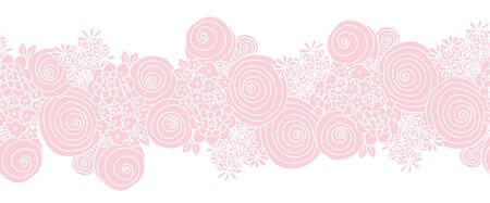 Seamless floral vector border pink. Flowers Repeating background. 일러스트