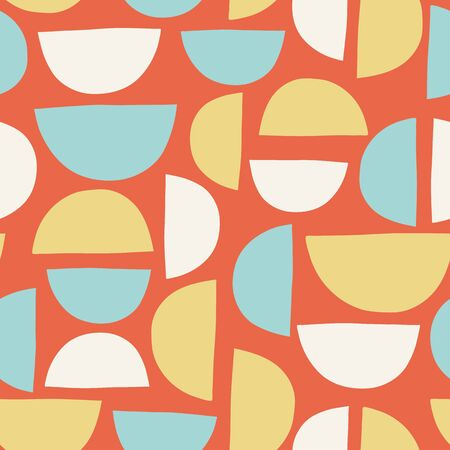 Abstract hand drawn semicircles seamless vector background orange blue yellow white Ilustracja
