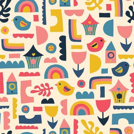 Scandinavian kids pattern birds rainbows and shapes. Seamless vector background. Фото со стока - 133199039