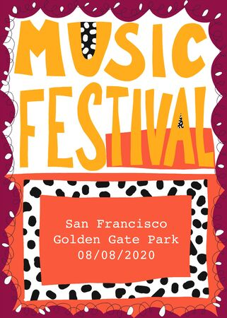 Music festival poster template hand drawn vector illustration