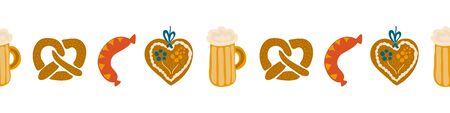 Oktoberfest food seamless border vector illustration. Beer festival party repeating banner. Beer glass, sausage, Gingerbread heart, pretzels. For invitation, flyer, poster, card Illusztráció