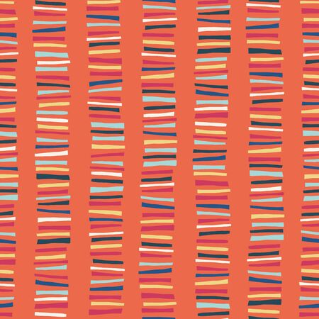 Vertical blocks seamless vector pattern. Childish abstract colorful stripe doodle background. Иллюстрация