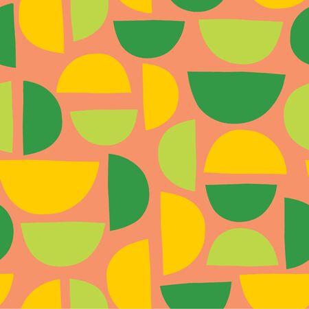 Half circles seamless vector summer background coral pink green yellow
