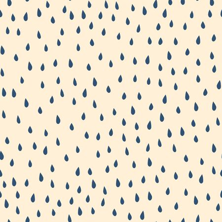 Blue raindrops on beige background seamless vector pattern