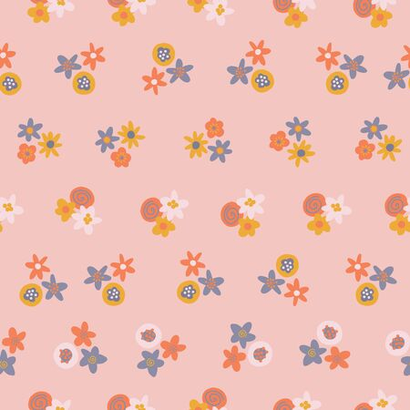 Scandinavian ditsy flowers seamless vector background. Blue orange yellow floral elements on light pink background. Contemporary flat nature design for surface pattern design, web banner, fabric