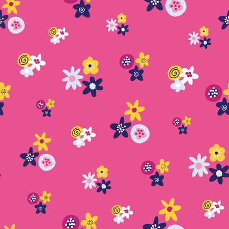 Abstract summer florals seamless vector background. Scandinavian style pattern flat folk art ditsy flowers. Yellow, dark blue and white flowers on a pink background. Use for fabric, wallpaper, decor Фото со стока - 133989304