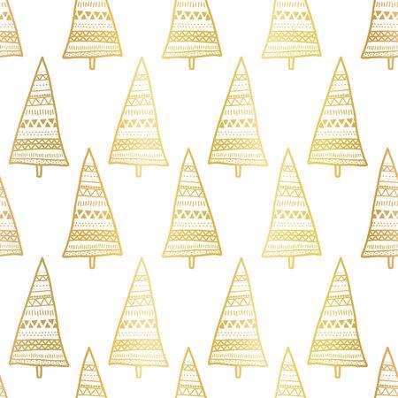 Gold foil doodle Christmas trees seamless vector pattern. Metallic shiny golden Boho style trees on white background. Elegant design. For Christmas, Winter Holiday season, New Year Иллюстрация