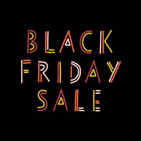 Doodle Black Friday Sale banner kids vector. Handwritten typography for promotional flyers, cards. Cute childrens sale text