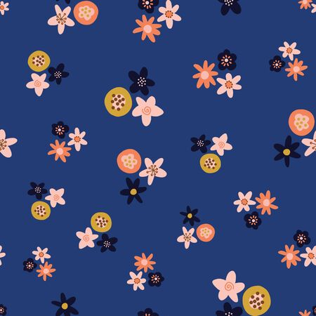 Ditsy Scandinavian style folk flowers vector pattern. Scattered orange pink yellow black florals on blue seamless vector background. Flat flowers texture. Use for fabric, kids decor, digital paper