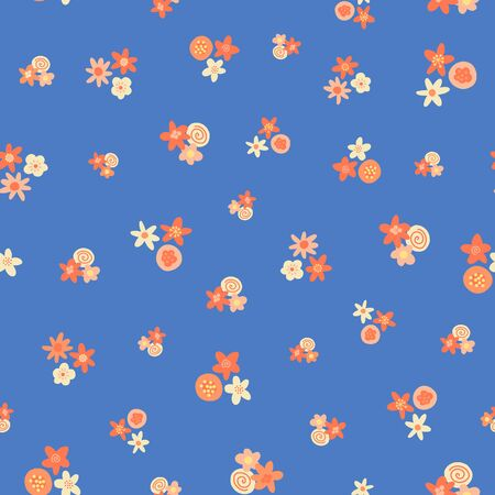 Ditsy summer flowers vector pattern. Scattered orange pink yellow florals on royal blue seamless vector background. Scandinavian style flat flowers texture. Use for fabric, kids decor, digital paper 일러스트
