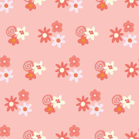 Pink and yellow ditsy flowers background. Seamless vector pattern with flat stylized Scandinavian florals. Decorative retro print for kids fabric, surface decor, wallpaper, packaging