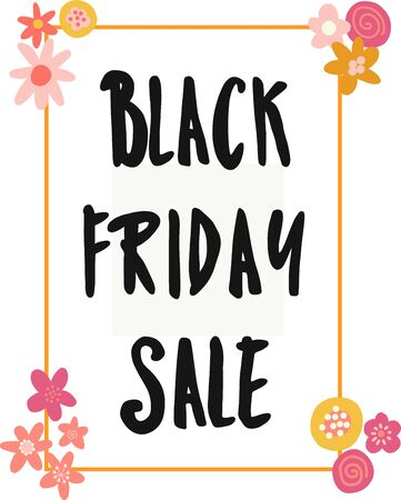 Black Friday Sale banner kids vector. Handwritten typography with flowers for promotional flyers, cards. Cute childrens sale text