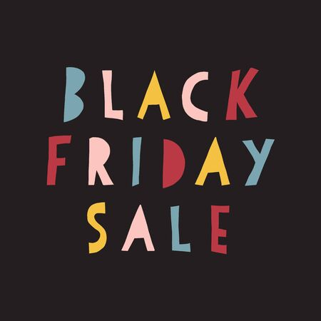 Black Friday Sale vector banner kids. Handwritten typography stencil paper cut out style for promotional flyers, cards. Cute childrens sale text Фото со стока - 133989312