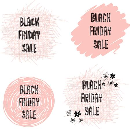 Feminine Black Friday Sales Banner Set Vector. Handwritten typography on dots, circles, scribbles in pink for promotional flyers, cards. Cute women sale text. Фото со стока - 133989313