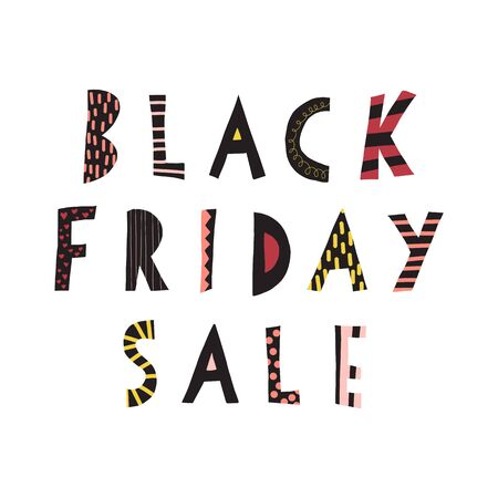Black Friday Sale doodle banner kids vector. Handwritten typography for promotional flyers, cards. Cute childrens sale text 일러스트