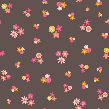 Scattered pink yellow ditsy flowers seamless vector background. Abstract floral pattern repeating texture. Scandinavian style flat flowers texture. Use for fabric, kids decor, digital paper