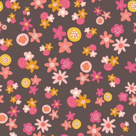 Seamless vector pattern with flat stylized Scandinavian flowers in pink gold yellow on a dark background. Decorative retro print for kids fabric, surface decor, wallpaper, packaging
