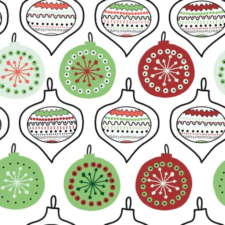 Vector hand drawn doodle Christmas tree ornaments seamless pattern. Repeating background illustration New Year and Christmas tree decoration black white green red. Use for fabric, gift wrap, packaging