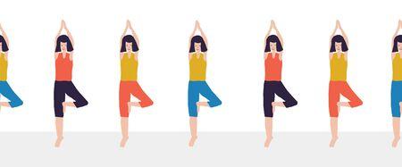 Yoga class seamless vector border. Women Fitness class repeating illustration of woman doing yoga tree pose. Sport event advertisement Фото со стока - 133989317