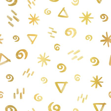 Geometric doodle shapes circle stars triangle shapes gold foil seamless vector background. Hand drawn brush stroke repeating pattern. Golden metallic elegant texture on white backdrop. Фото со стока - 133989319