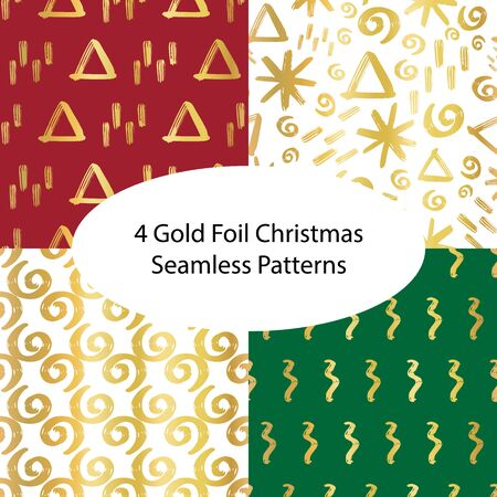 Christmas gold foil seamless vector background set. Winter holiday patterns green white and red with hand drawn gold foil doodles. Xmas, New year abstract geometric background. For cards, gift wrap