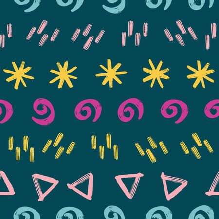 Contemporary abstract doodle vector background. Seamless kids pattern with stars, twirls, triangles in horizontal rows. Abstract geometric shapes hand drawn pink yellow blue. For kids fabric, decor Иллюстрация