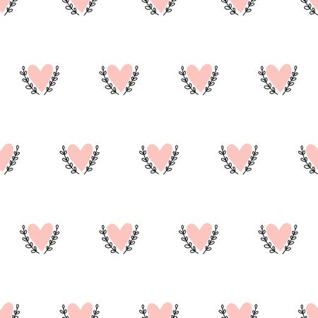 Doodle Hearts seamless vector background hand drawn. Pink heart shapes between leaf branches. Use for Valentines day, card decoration, fabric, wallpaper, packaging, gift wrap Иллюстрация