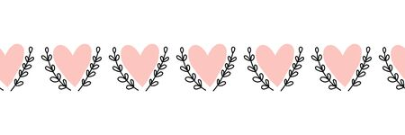 Doodle Hearts seamless vector border hand drawn. Pink heart shapes between leaf branches. Use for Valentines day, card decoration, fabric ribbon, packaging Иллюстрация