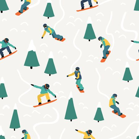 Snowboarding seamless vector pattern. Winter sport illustration with people on snowboards riding down a hill. Mountain outdoor sport. Use for fabric, sports wear, flyer, poster Фото со стока - 133989335