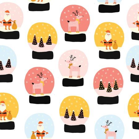 Christmas Snow globes seamless vector pattern. Hand drawn snowglobes with falling snow, Santa Claus, Xmas tree, reindeer repeating background. Cute Merry Christmas glass ball gift illustration. Иллюстрация