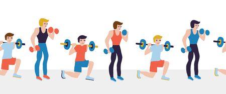 Men weightlifting dumbbells fitness sport seamless vector border. Hand drawn Illustration for gym class, sport event, flyer, fitness studio advertisement, poster, card