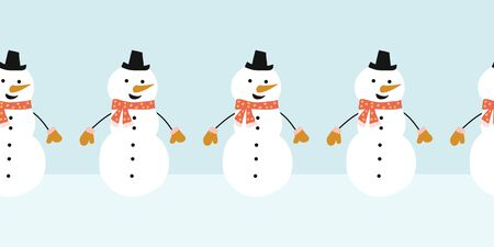 Snowman seamless vector border. Cute snowmen standing in a horizontal row. Winter holidays repeating border flat Scandinavian style. For kids decor, ribbons, kids winter wear, banner, greeting card Фото со стока - 133989339