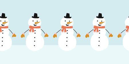 Snowman seamless vector border. Cute snowmen standing in a horizontal row. Winter holidays repeating border flat Scandinavian style. For kids decor, ribbons, kids winter wear, banner, greeting card Иллюстрация