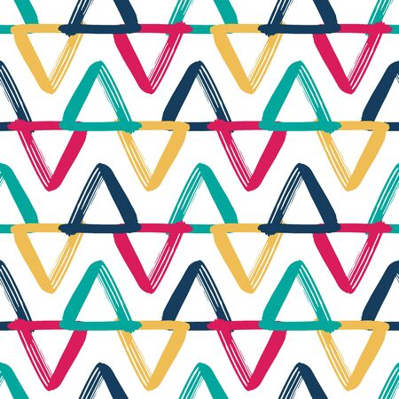 Colorful overlapping triangles seamless vector pattern. Geometric zigzag kids background white, pink, blue, yellow, teal. Hand drawn doodle triangles in horizontal rows repeating backdrop. Kids fabric