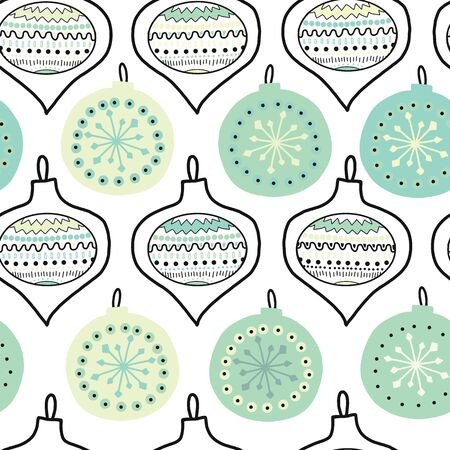 Doodle Christmas tree ornaments vector seamless pattern. Hanukkha repeating hand drawn background illustration New Year and Christmas decoration blue white green red. For fabric, gift wrap, packaging