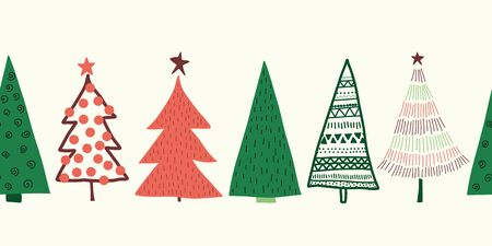 Christmas trees vector border. Seamless pattern hand drawn doodle trees green red. Decorative Winter holiday sketch design for ribbons, card decoration, scrapbooking, banners