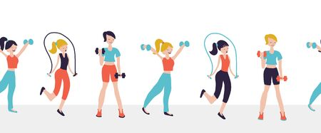 Women fitness workout exercises seamless vector border. Illustration Sport club gym bodybuilding powerlifting health training dumbbells jump rope. Healthy lifestyle. Crossfit isolated flat icons Фото со стока - 133989343