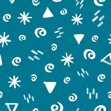 White geometric Doodles on blue background seamless vector pattern. Geometric shapes kids backdrop. Hand drawn doodle strokes, lines, triangles, stars, twirls design for fabric, kids decor