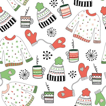 Winter wear doodle seamless vector pattern. Repeating background sketch illustration sweater, hat, mittens and hot drinks. Cute holiday art for fabric, gift wrap, surface design, winter outdoor time Фото со стока - 133989344