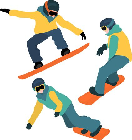 Snowboarding vector set. Winter sport illustration with people on snowboards wearing boots, gloves, helmet, pants and jacket. Mountain outdoor sport vector icon set. For sports wear, flyer, poster, Фото со стока - 133989346
