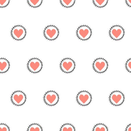 Doodle Hearts seamless vector pattern hand drawn. Pink heart shapes in leaf branch circles. Use for Valentines day, card decoration, fabric, wallpaper, packaging, gift wrap Иллюстрация